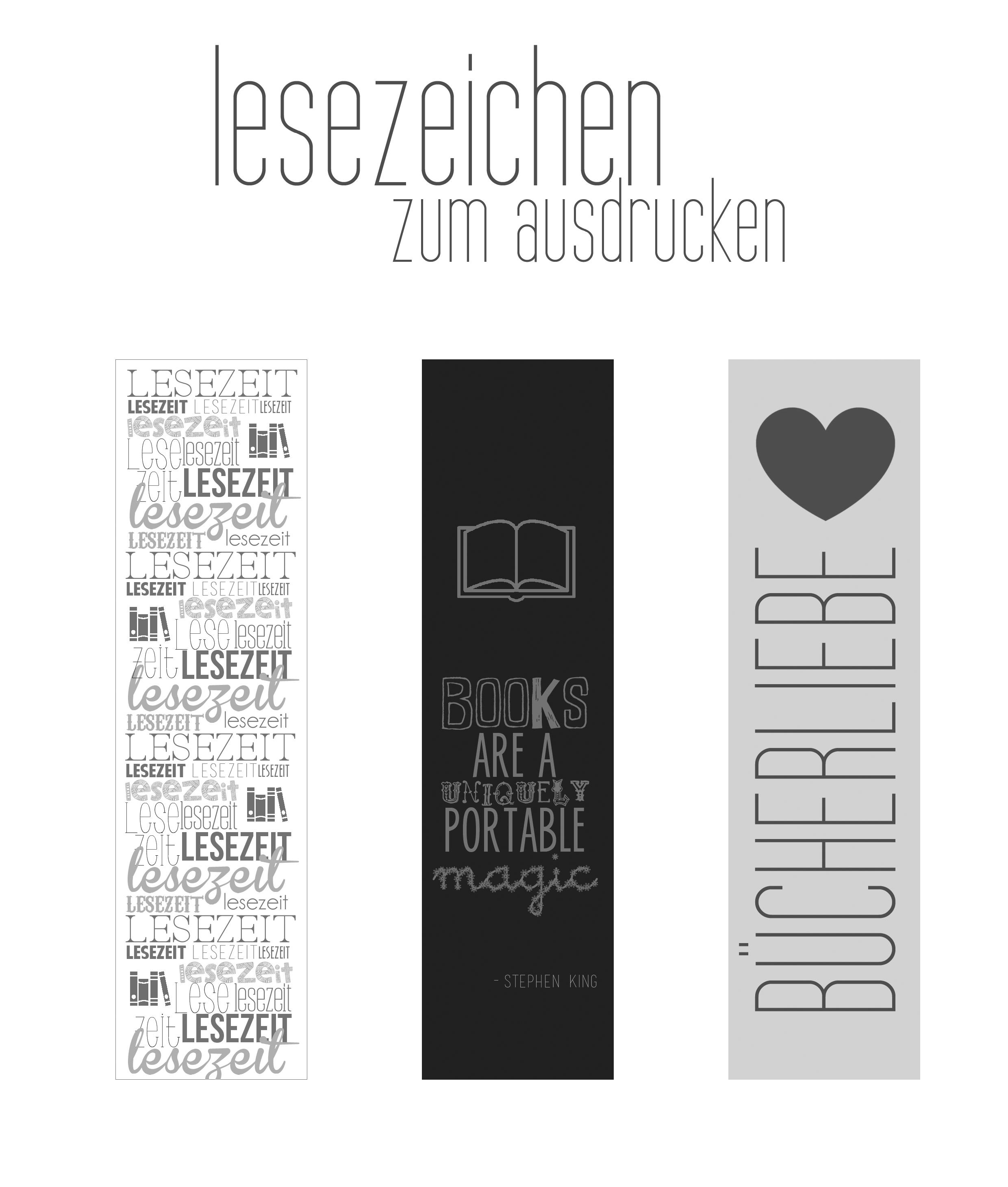 Freebie: Lesezeichen zum Ausdrucken (Printable)